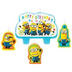 4 Lumanari tort Figurina Minioni, Amscan 9907322