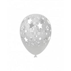 Baloane Latex Transparente 57, de 30 cm. inscriptionate cu stele albe