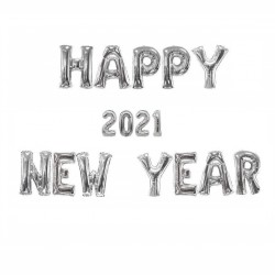 "Ghirlanda Mare ""HAPPY NEW YEAR 2021"" din Baloane Folie Argintii"