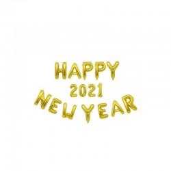 "Ghirlanda Mare ""HAPPY NEW YEAR 2021"" din Baloane Folie Aurii"