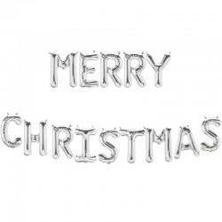 Ghirlanda de Craciun din baloane cu Merry Christmas, Argintiu, 66cm