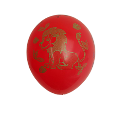 Baloane rosii din latex inscriptionate cu Animale din Jungla, 30cm