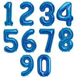 Balon folie Cifra Mare 0-9 Albastru, FooCA, 90 Cm