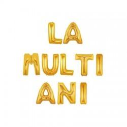 """Ghirlanda """"LA MULTI ANI"""" din Baloane Folie Auriu, FooCA, 35 cm"""