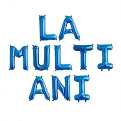 "Ghirlanda ""LA MULTI ANI"" din Baloane Folie Albastra, FooCA, 35 cm"