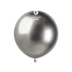 Baloane Latex Jumbo Cromate Argintiu, Argintiu 48 cm. Gemar