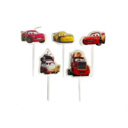Set 5 Lumanari Tort Figurina cu Masini Cars, 7 cm