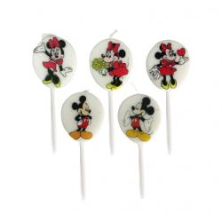 Set 5 Lumanari de Tort cu Mickey si Minnie Mouse, 7 cm