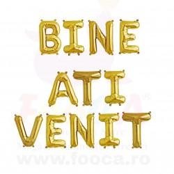 "SET 12 Baloane Folie ""BINE ATI VENIT"", 66cm FooCA, Auriu si alte Combinatii"