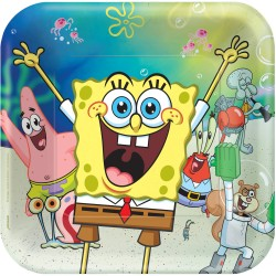 Set 8 Farfurii Sponge Bob Patrare, 23cm, Amscan 552627