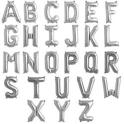 Balon folie litera Mica A-Z, Argintiu, 35 Cm, 1 buc.