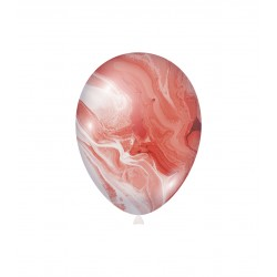 Baloane Latex Marmorate Agate, Rosu, 30 cm, Rocca Fun Factory, G110M110
