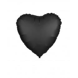 Balon Folie in forma de Inima Negru Cromat, 45cm, FooCA