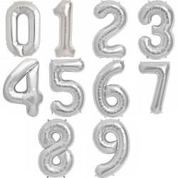 Balon folie Cifra mica 0-9 Argintiu, 35 Cm, 1 buc.