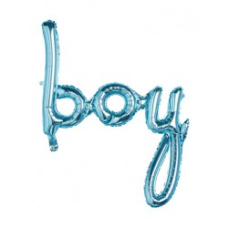 Balon scris BOY, Albastru, Botez Baietel, 60 x 82 cm, FooCA