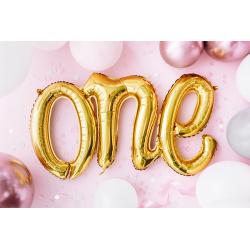 Balon Folie Scris ONE pentru Mot, Auriu, FooCA, 57x95 cm
