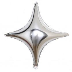 Balon folie Stea in patru Colturi, Argintiu, 70 x 70 cm, FooCA