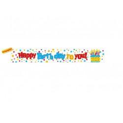 Banner holografic din folie, Happy Birthday to you cu tort, 3.65m
