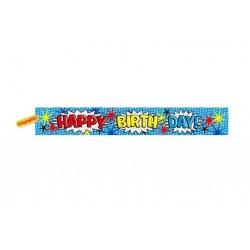 Banner holografic din folie, Happy Birthday albastru, 3.65m