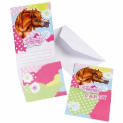6 Invitatii cu Plic Charming Horses 2, Amscan 552349