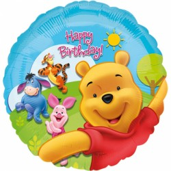 Balon folie 45cm, Happy Birthday - Pooh and Friends, Amscan 15749 01