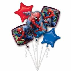 Buchet 5 baloane folie metalizata Spider-Man, Amscan 3466701