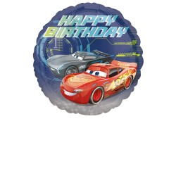 Balon Folie metalizata Happy Birthday Cars - Lightning McQueen, rotund...