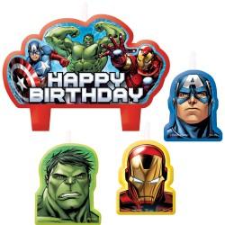 Lumanari tort Marvel Avengers, 4buc./set, Amscan 171354-55