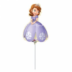 Balon mini figurina folie Sofia the First - 23 cm, cu bat si rozeta,...
