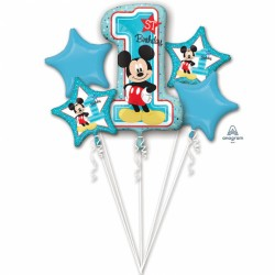 Buchet 5 Baloane Folie, Mickey Mouse prima Aniversare, Amscan 3434101
