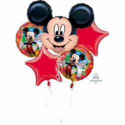 Buchet 5 baloane folie Happy Birthday Mickey Mouse, Amscan 1865901