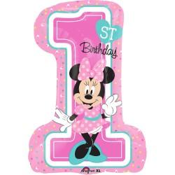Balon figurina Folie,cifra 1, Minnie Mouse prima Aniversare, 48x71cm,...