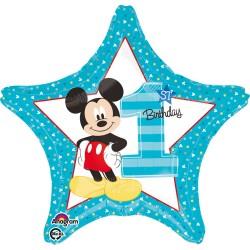 Balon Folie, Mickey Mouse prima Aniversare, 43 cm, Amscan 3433501