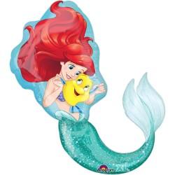 Balon figurina folie Mica Sirena Ariel, 71x86 cm, Amscan 3352901