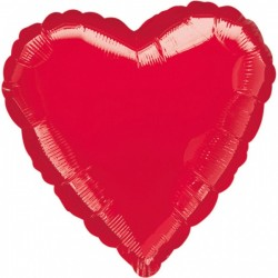 Balon Folie in forma de Inima Rosu - 45cm, 1 buc.