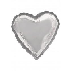 Balon Folie in forma de Inima, Argintiu - 45cm, 1 buc.