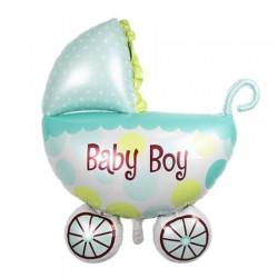 Balon folie metalizata Botez Baietel, Carucior Baby Boy, 76x102 cm