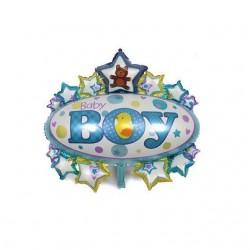 Balon folie metalizata Medalion Baby Boy, Botez Baietel, 85x67 cm